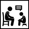 adult on chair; child on chair; speech bubble